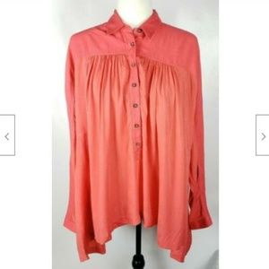 Free People Tunic Top Shirt XS Oversized Popover